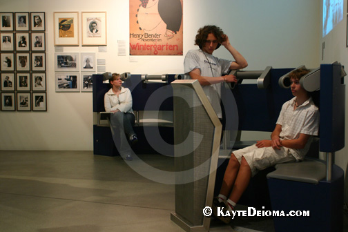 Teenagers listen to a speech by Albert einstein at the Jewish Museum Berlin, Germany.