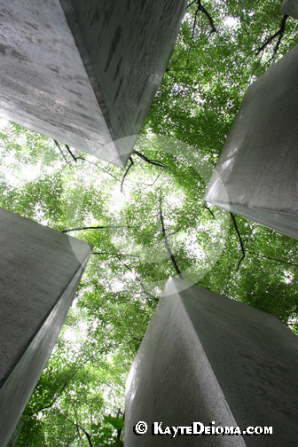 Looking up between four of the 49 pillars in the Garden of Exile at the Jewish Museum Berlin, Germany.