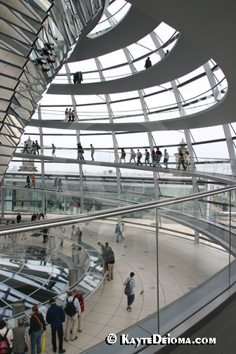 Spiral ramps lead up to the Reichstag dome.