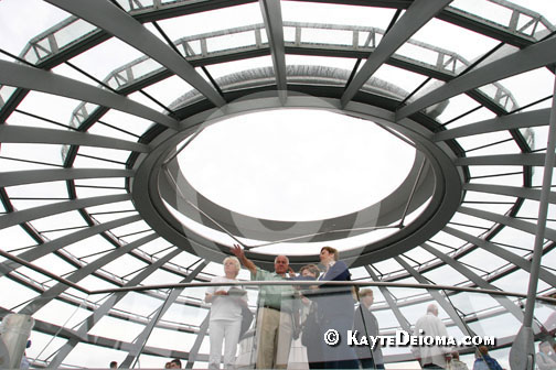 Visitors on the viewing platform at the top of the Reichstag Dome, Berlin, Germany