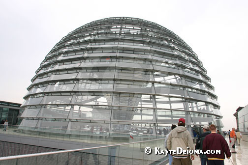 The glass dome was added when the Reichstag in Berlin was rebuilt in the 1990s
