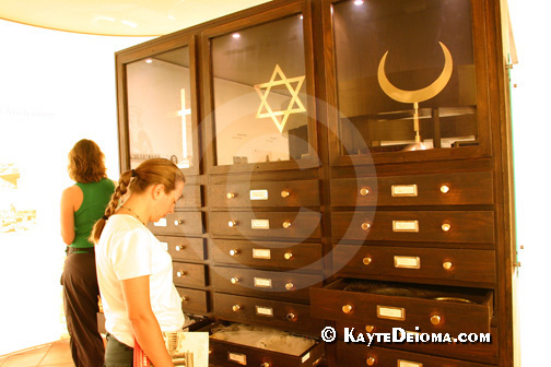 Christian, Jewish and Muslim religious artifacts on display at the Story of Berlin.