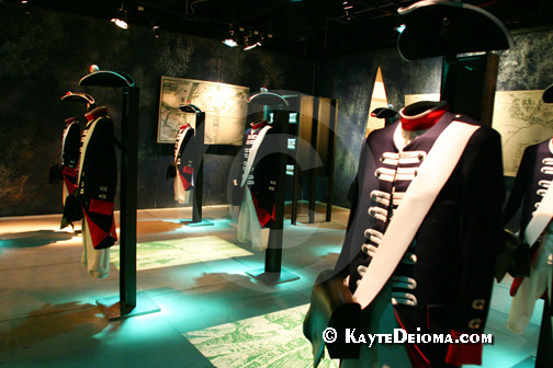 Prussian military uniforms from various periods on display at the Story of Berlin, Germany.