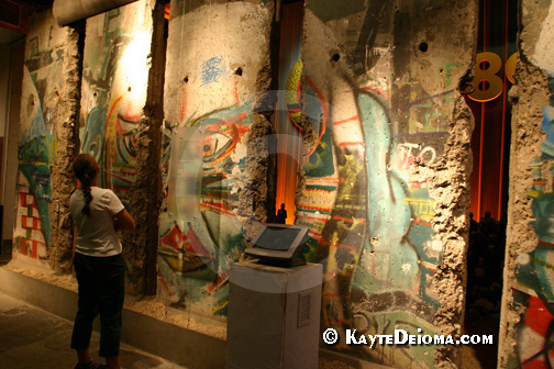 Pieces of the Berlin Wall stand in the Story of Berlin.