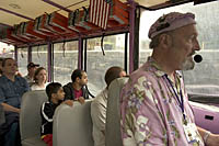 Major Groovy narrates a rainy day Boston Duck Tour on the Charles River in Boston, MA