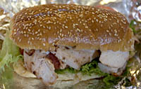 Grilled chicken breast sandwich from A La Carte at Quincy Market, Faneuil Hall Marketplace, Boston, MA