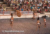 Team scores a goal in the Mayan game of Pok ta'pok during the Xcaret night Spectacular.