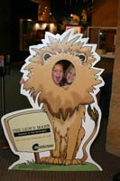 Sarah and Becca as the two headed lion at the Cleveland Museum of Natural History, Cleveland, Ohio.