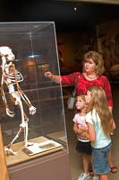 "Ellie and the girls check out the skeleton of ""Lucy"" at the Cleveland Museum of Natural History, Cleveland, Ohio"