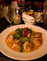 Pan Seared Sea Scallops with Butternut Coulis, Roasted Tomato-Spinach Ragout and Risotto at Pickwick Restaurant, Pickwick & Frolic, Cleveland, Ohio