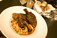 Roasted Lamb Shank with Roasted Root Vegetable Risotto at Pickwick Restaurant