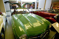 "A 1956 Mercedes-Benz ""gull wing"" SL300 at the Crawford Auto-Aviation Museum."