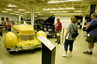 Museum Director, Allan Unrein regales visitors with the personal histories of the vehicles in his care at the Crawford Auto-Aviation Museum, Cleveland, Ohio