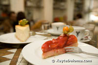 Cheesecake and strawberry cake at Bazzar Caffé, Dusseldorf