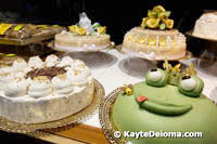 Cakes in the front window at Cafe Heinemann, Dusseldorf
