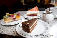 Hawaiian Torte, Mozart Cake and Dutch Cherry Cream Cake at Cafe Heinemann, Dusseldorf
