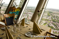 Top 180 with a rotating view of the city from the Rheinturm, Dusseldorf