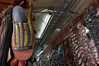Maximo Pelayo's giant huarache sandal on display at Mercado Libertad (San Juan de Dios), Guadalajara, Mexico.