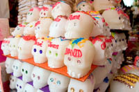 Sugar skulls for Day of the Dead at Dulces Basiluco, booth 1624 at Mercado Libertad (San Juan de Dios), Guadalajara, Mexico.