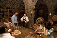 Cellar tours visit La Cava (the cellar) to sample the elite Reserva de la Familia tequila at Mundo Cuervo, Jose Cuervo's distillery tour in Tequila, Jalisco, Mexico.
