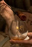 Jos Cuervo Reserva de la Familia is poured into a brandy snifter for a tasting as part of the Cellar Tour at Mundo Cuervo in Tequila, Mexico.