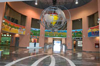 The spinning top globe hangs in the lobby of Trompo Magico (Magic Top) Interactive Museum.