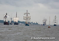 The Opening Parade of Ships at the Hamburg Harbor Birthday Celebration.