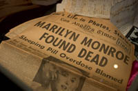 An L.A. Times newspaper announcing the death of Marilyn Monroe is part of the Marilyn Monroe exhibit at the Hollywood History Museum. Š Kayte Deioma