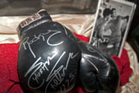Sylvester Stallone's boxing gloves from Rocky at the Hollywood History Museum. Š Kayte Deioma
