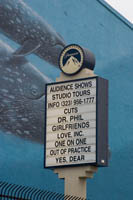 This sign near the north gate of Paramount Studios od Gower Street shows which TV shows are currently taping.  Hollywood, CA. Š KayteDeioma.com
