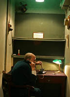 A model of Winston Churchill talks on the phone in the Transatlantic Telephone Room at the Cabinet War Rooms museum in London.