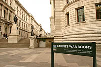 Entrance to the underground Cabinet War Rooms in London.