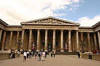 The south front of the British Museum features a Greek Revival colonnade designed by Sir Robert Smirke in 1923 to replace the original structure, which they had outgrown.  It wasn't completed until 1852.