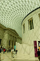 The Great Court of the British Museum encloses what used to be an outdoor courtyard and has a circular reading room at its center.
