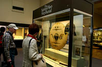The Sutton Hoo Burial Ship Exhibit at the British Museum, London.