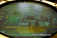 A display shows the layout of the Pointe at different periods of time. Š Kayte Deioma