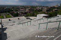 The view of west Montreal and an approaching rain shower from the Terrace at St. Joseph's Oratory in Montreal. Š Kayte Deioma