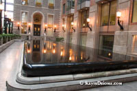 18th century fountain by French architect and sculptor Dieudonné-Barthélemy Guibal at the Montreal World Trade Center. Š Kayte Deioma