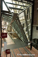 The eastern entrance of the Montreal World Trade Center complex is cut at an angle to preserve the facade of the historic St. James Hotel. Š Kayte Deioma