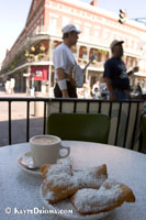 Cafe au lait and beighnet at Cafe du Monde in New Orleans, LA.