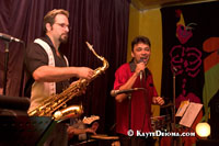 Fredy Omar con su Banda perform at Cafe Brasil on Frenchmen Street in Faubourg Marigny, just outside the French Quarter in New Orleans, LA. Brent Rose on Sax and Fredy Omar.