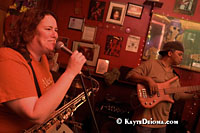 Rebecca Barry and the FEMA No Checks, with  Sugar Bear on bass at the Apple Barrel on Frenchmen Street in the Faubourg Marigny neighborhood of New Orleans, LA