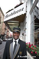 Doorman at the Hotel Monteleone in the French Quarter. The Monteleone, a family owned hotel registered as a literary landmark, is the largest hotel in the French Quarter.