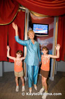 Sarah and Becca with a wax Hilary Clinton