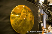 Carl Sagan's Golden Record on a model of the Voyager spacecraft at JPL.