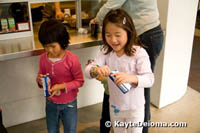 Kids enjoy ice cream bars from the Nestle Cafe by Wolfgang Puck.