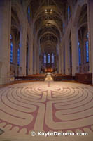The indoor wool tapestry labyrinth at Grace Cathedral in San Francisco, CA.