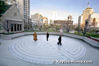 People walking on the outdoor labyrinth at Grace Cathedral on Nob Hill in San Francisco, CA.
