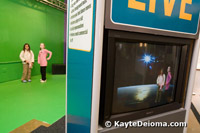Two girls rehearse their scene on a green stage and appear on the TV as if they are on the moon in the Zeum Production Studio.