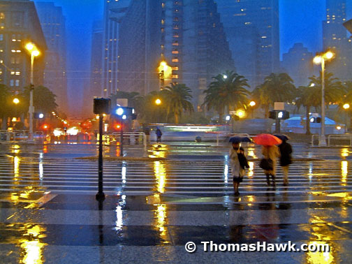 A rainy night in front of the Ferry Building in San Francisco.